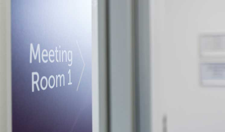The door into Meeting Room 1 at the Assembly Rooms.