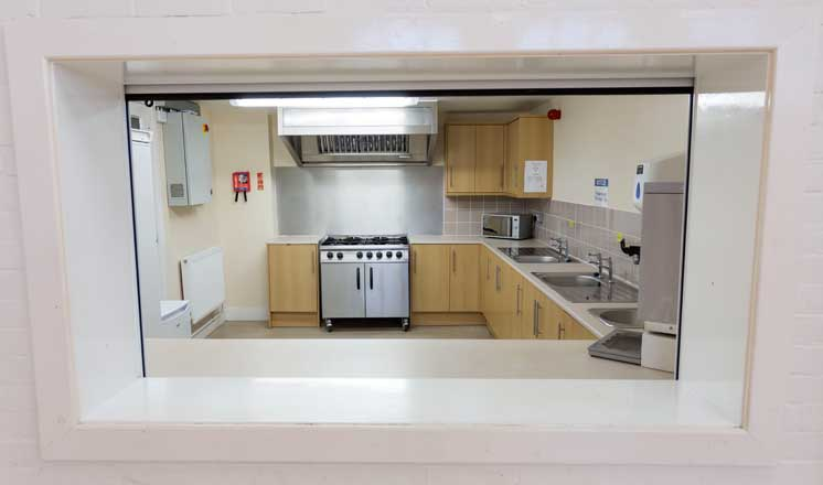 The kithcen and servery at Hasland Village Hall.