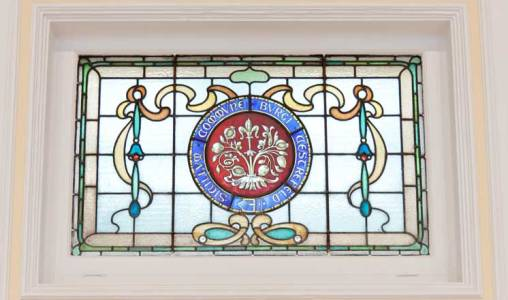 A stained glass window at the Assembly Rooms in the Market Hall in Chesterfield.